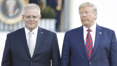 Prime Minister Scott Morrison and US President Donald Trump at the White House during a rare state visit for the Australian leader.