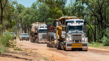 Adani moving earth-moving equipment to its Carmichael mine site last December.