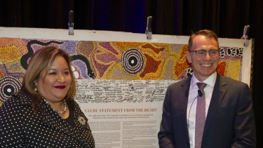 Professor Megan Davis and BHP CEO Andrew Mackenzie with the  Uluru Statement from the Heart at the CEDA conference in Perth on Thursday.