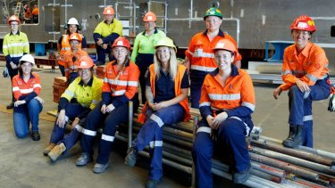Austal had an all-female apprentice intake in 2019 to supplement its fabrication staff and trades assistants.