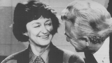 Bob Hawke jokes with Susan Ryan at a press conference in 1987.