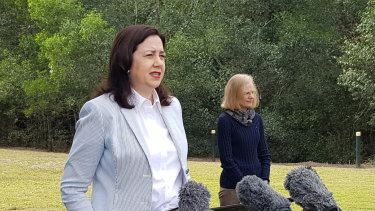 Premier Annastacia Palaszczuk with Chief Health Officer Dr Jeannette Young on Sunday.