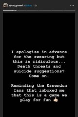 Dylan Grimes shared this message on his Instagram stories.