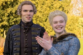 Elle Fanning plays Catherine II, Empress of Russia, and Nicholas Hoult is guileless as Peter III.