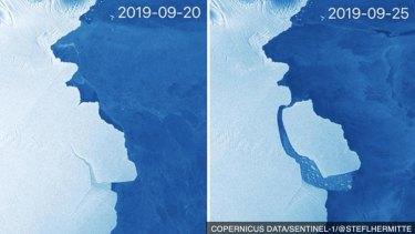 The Amery Ice Shelf iceberg calving.