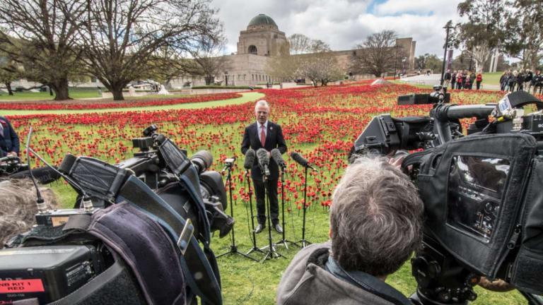 War Memorial director Brendan Nelson addresses media ahead of the 100th Remembrance Day.