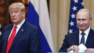 Donald Trump and Vladimir Putin in Helsinki, in July.