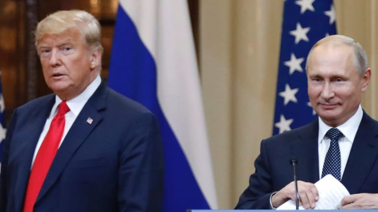 Donald Trump and Vladimir Putin in Helsinki, in July.