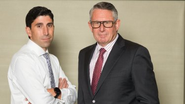 IOOF's chairman Allan Griffiths (right) says acting chief executive Renato Mota has the full support of the board.