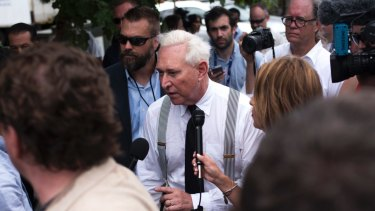 Roger Stone walks off stage on the first day of the Republican National Convention in Cleveland in July 2016, as WikiLeaks began dumping the Democrats' emails.