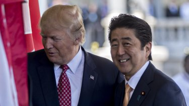US President Donald Trump, left, and Japanese Prime Minister Shinzo Abe in the  West Wing of the White House.
