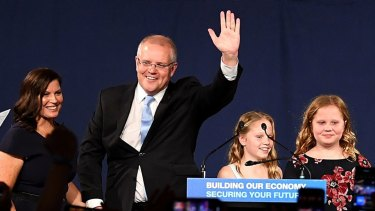 Scott Morrison with wife Jenny and children Lily and Abbey as he claimed victory.