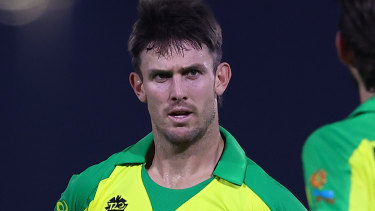 Marsh in action against India in a warm-up game for the T20 World Cup.