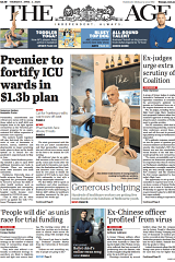 The front page of The Age on Thursday April 2.