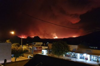 The couple watched the fire approaching Corryong from the balcony of the Courthouse Hotel.