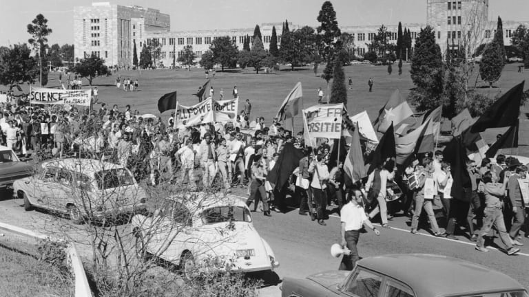 Students and staff marching off campus for the 1970 Moratorium. Censorship protest at the Union Building in 1969. Students, staff and the public unite to protest UQ awarding Bjelke Petersen an honourary doctorate in 1985.