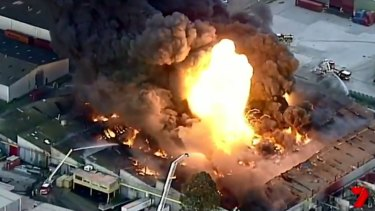 West Footscray factory fire. Channel 7