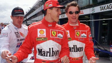 Ferrari drivers Michael Schumacher and Eddie Irvine at the Melbourne Grand Prix in 1998.