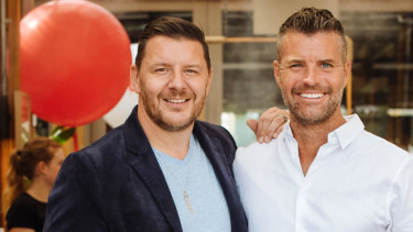 MKR judges Manu and Pete celebrate the success of their cooking show in Sydney on Thursday.