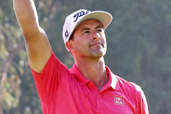 Adam Scott celebrates winning the Riviera PGA in Los Angeles.