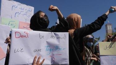 Afghan women protest in western Afghanistan.