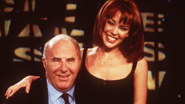 Clive James with Kylie Minogue, 1995.