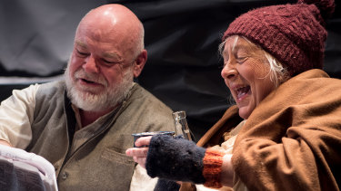 Laurence Coy and Jude Gibson in Old Fitz Theatre's rollicking production of The Cripple of Inishmaan.