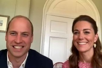 Prince William, Duke of Cambridge and Catherine, Duchess of Cambridge in a video call this week.