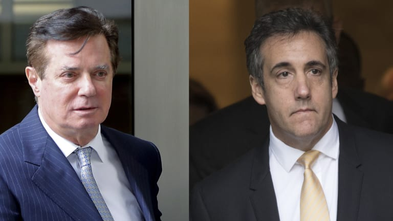 In these 2018 file photos, Paul Manafort leaves federal court in Washington, left and attorney Michael Cohen leaves federal court in New York.