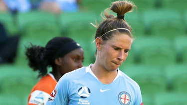 City's Elise Kellond-Knight after failing to convert a penalty against Brisbane Roar on Friday night.