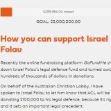 'Fight for religious freedom': Donations pour in for Israel Folau on the ACL site.