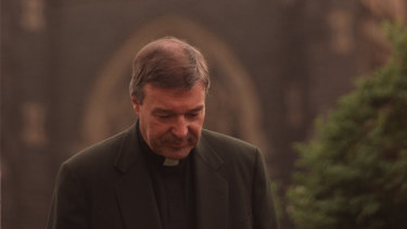 George Pell outside St Patrick's Cathedral in 1998.