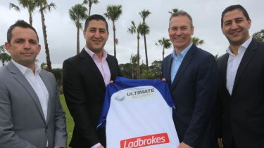 New backer: Bulldogs general manager of corporate partnerships Grant McFadden, Ultimate Security chief executive Nassim Said, Bulldogs chief executive Andrew Hill and Ultimate Security's Nabil Said.