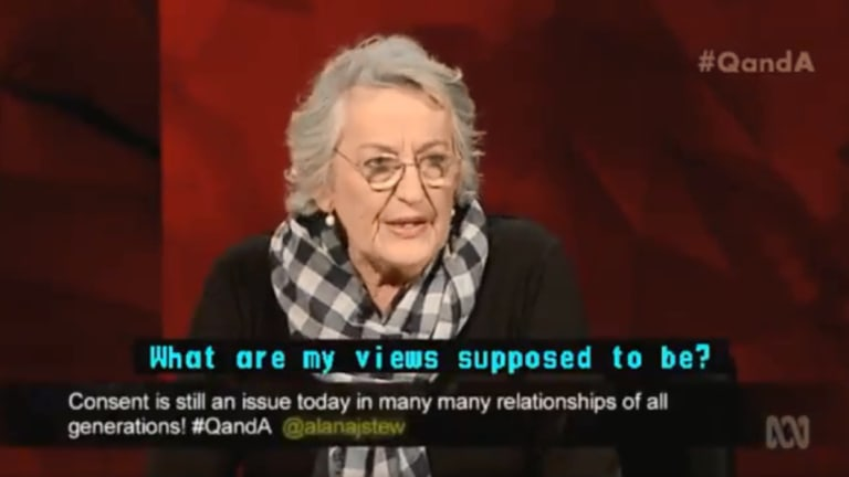 Germaine Greer on Monday's Q&A.