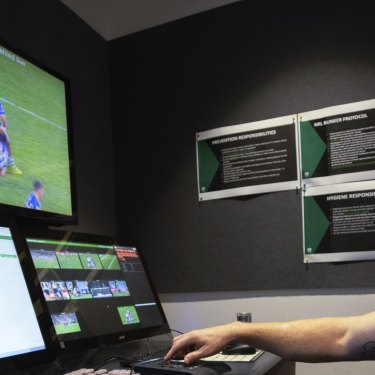 Michael Hodgson watches a match for the NRL's match review committee.