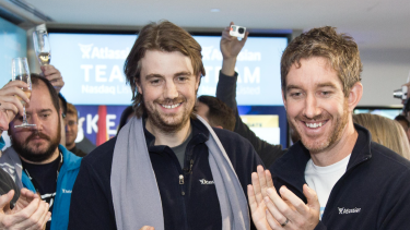Atlassian founders Mike Cannon-Brookes and Scott Farquhar after listing on the NASDAQ in 2015.