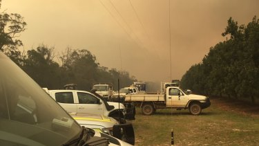 The smoke-covered horizon on the central Queensland coast as out-of-control bushfires rage.