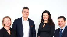 The four founders of new consultancy Olvera Advisors: (left to right) Kate Barnet, Damien Hodgkinson, Lucy Vecchio and Hugh Armenis.