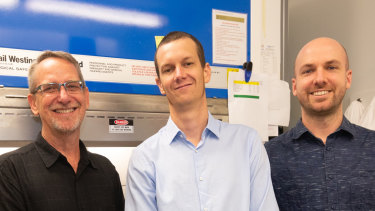 Professor Paul Young, left, Dr Keith Chappell and Dr Dan Watterson developed the new vaccine technology.