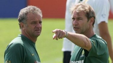The dream team: Graham Arnold and Pim Verbeek, back when they were working together with the Socceroos.