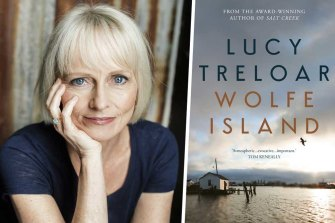 Author Lucy Treloar and her book Wolfe Island.