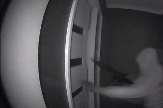 One of the intruders armed with a semi-automatic gun.