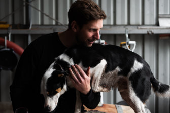 LS Merchants winemaker Dylan Arvidson with his dog Flash.