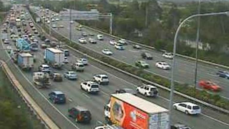 A north-facing traffic camera captured the extent of the delays through Beenleigh at 2.30pm.