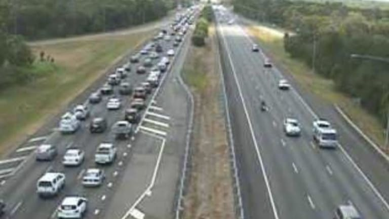 Northbound congestion on the Bruce Highway in Burpengary just after midday.