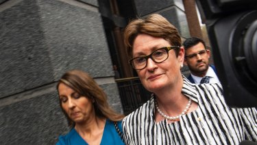 CBA chair Catherine Livingstone leaving the Banking Royal Commission in 2018 after giving testimony.