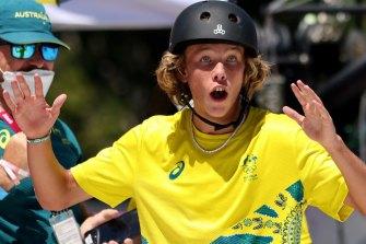 Keegan Palmer reacts after winning gold in the men's skateboarding finals in Tokyo.