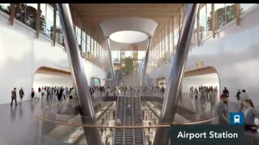 A 2019 artist's impression of the station that could be built at Melbourne Airport.
