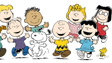 Peanuts characters from left: Schroeder, Linus, Franklin, Snoopy, Charlie Brown, Sally, Lucy, Marcie  and Woodstock.
