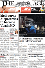 Page one of The Age on Thursday April 23.